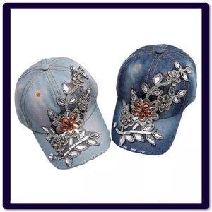 Distressed Rhinestone Denim Baseball Caps Hats